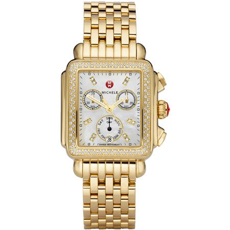 Michele Deco Day Mother of Pearl Dial Gold-tone Diamond Dial Watch MWW06P000100