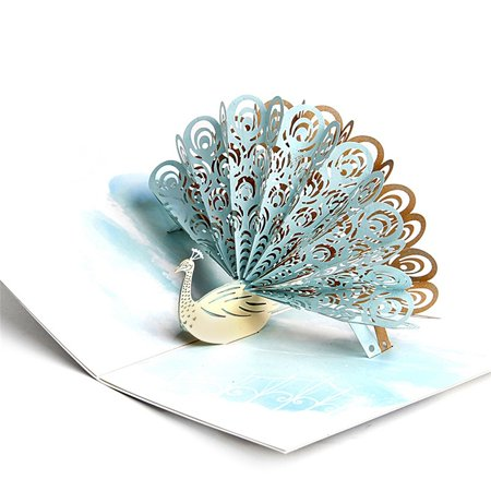 DL furniture - Pop Up Greeting Card - Cute Peacock 3D Paper Greeting Thank You Card Handmade Envelope for kids men women | Holiday Halloween Thanksgiving Birthday White ( Jade Green ) (Halloween Furniture)