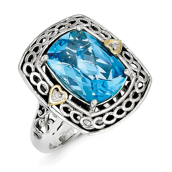 Sterling Silver w 14k Diamond & Blue Topaz Ring by Saris and Things QG