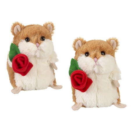 Li'l Hamster With Rose Valentines Plush Toy - By Ganz (3in)