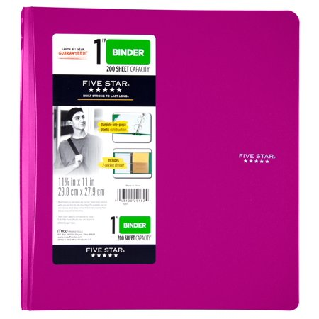 Acco Translucent Poly Ring Binders - Five Star 1 Inch Poly Binder, Purple, 1 Count