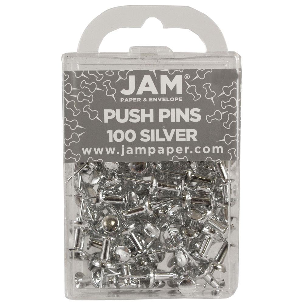 JAM Paper® Push Pins - Silver PushPins - 100/Pack