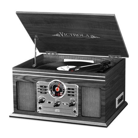 Sitting Turntable (Victrola Wooden 6-in-1 Nostalgic Record Player with Bluetooth and 3 Speed Turntable,)