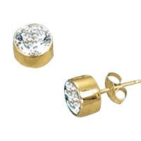 Diamond Essence Bezel Set Stud Earrings with Round Brilliant Stones - VED1121 - 2 Carat Set Brilliant Diamond