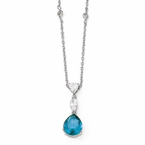 Cheryl M Sterling Silver W  Rhodium-plated Cubic Zirconia and Simulated Paraiba Tourmaline 18in. Necklace by Jewelrypot