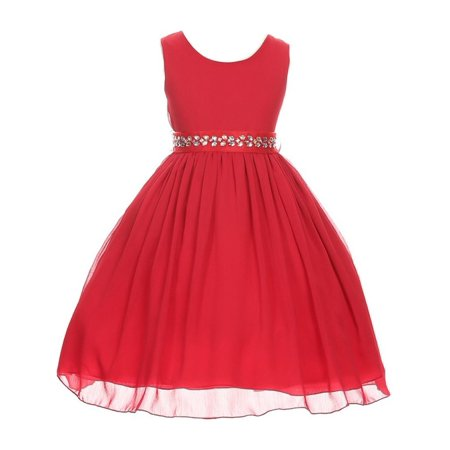 Good Girl Girls Red Stone Encrusted Waist Occasion Dress for $<!---->