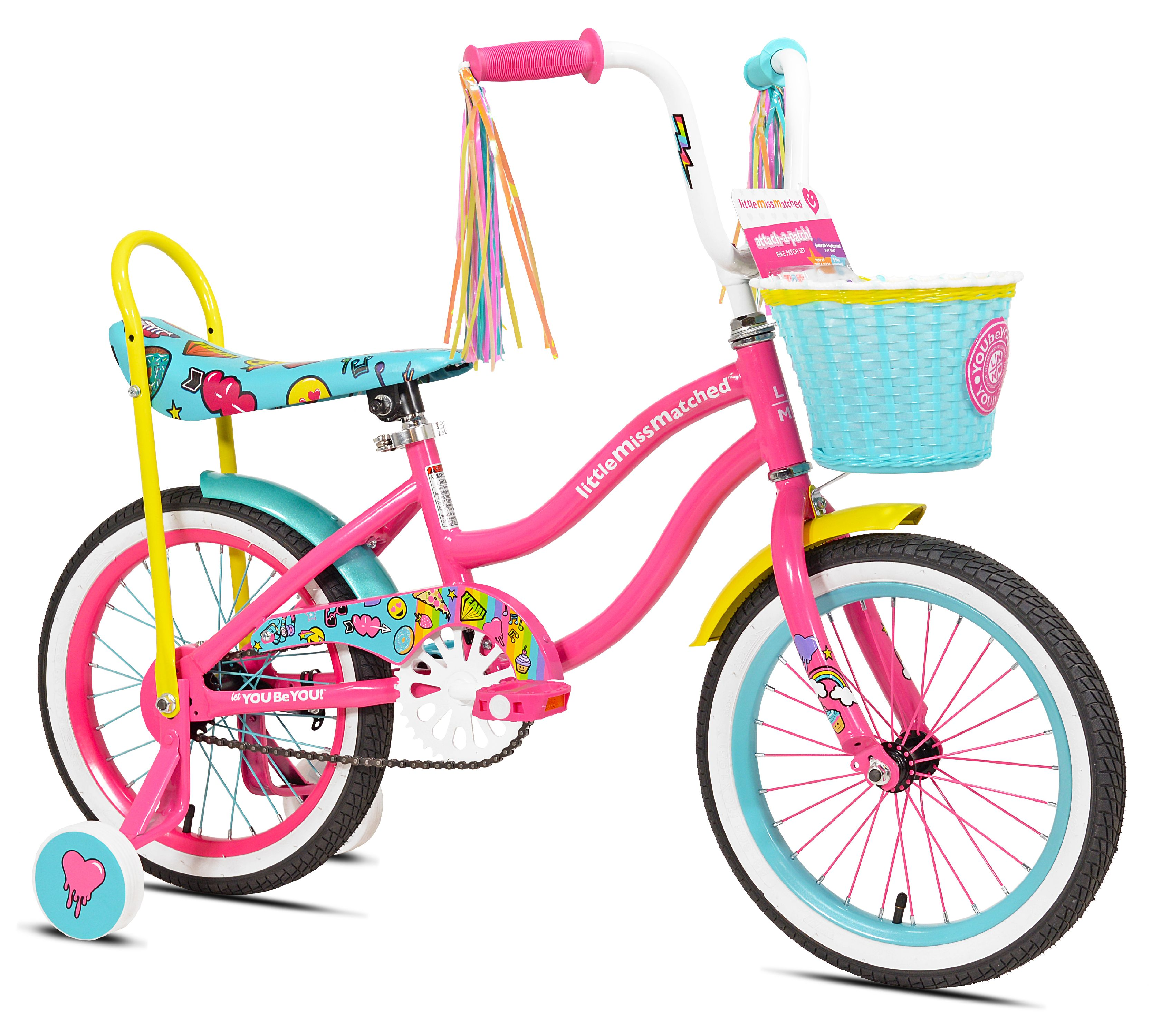 "LittleMissMatched 16"" Girls', Highriser Bike, Pink/Blue, For Ages 6-9"