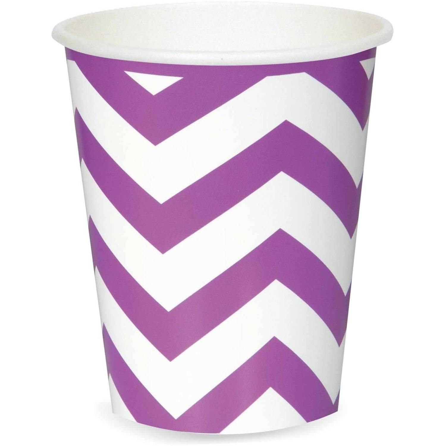 12oz Chevron Paper Cups, Pretty Purple, 8ct