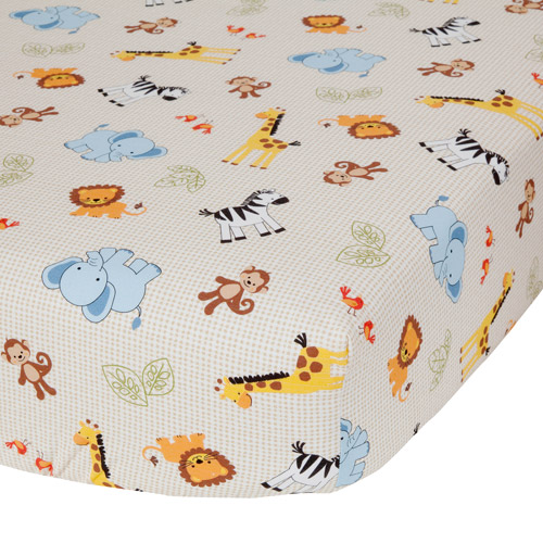 Bedtime Originals by Lambs & Ivy - Jungle Buddies Crib Sheet, Brown