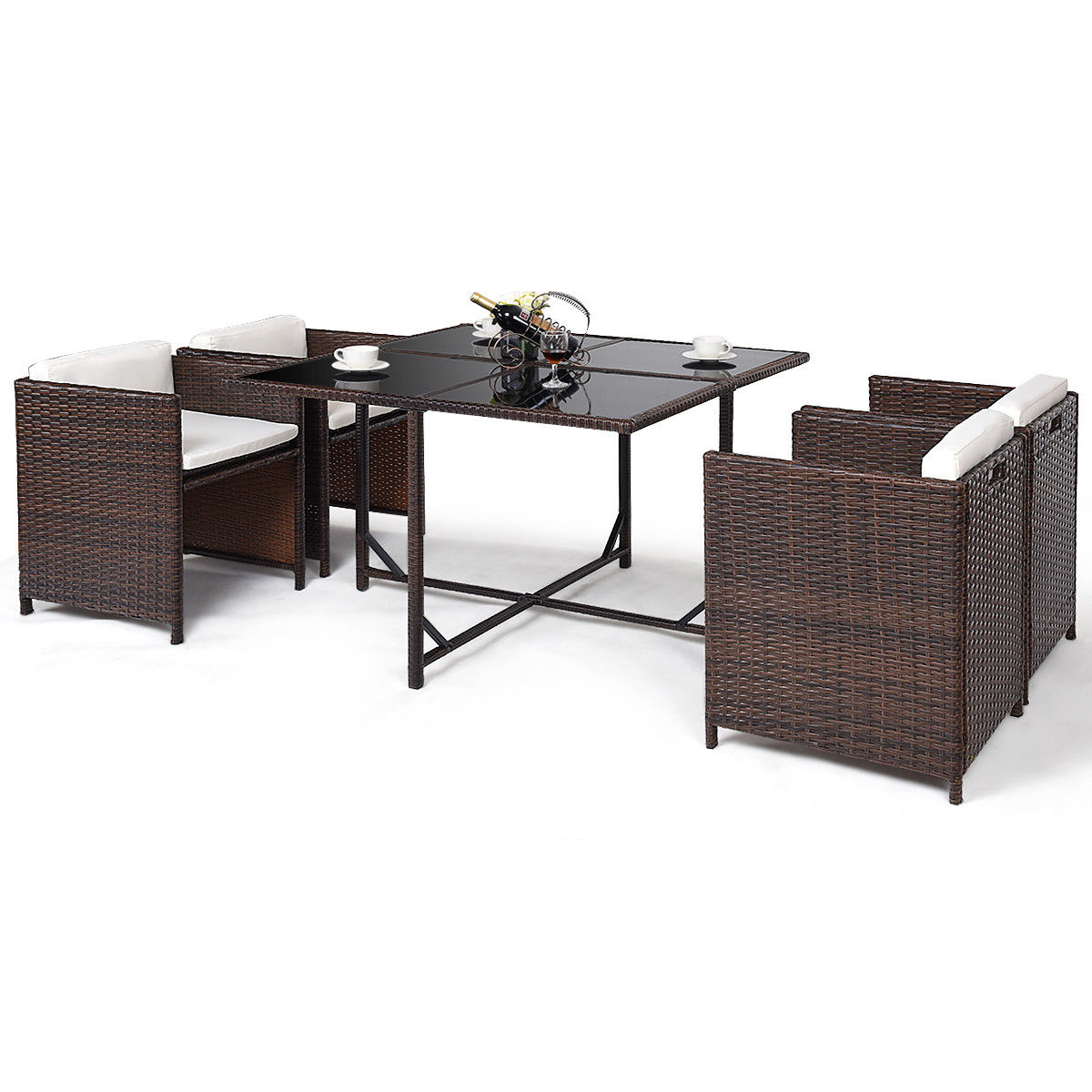Costway 5 PCS Outdoor Patio Dining Set Rattan Wicker Sofa Table Furniture Garden Yard