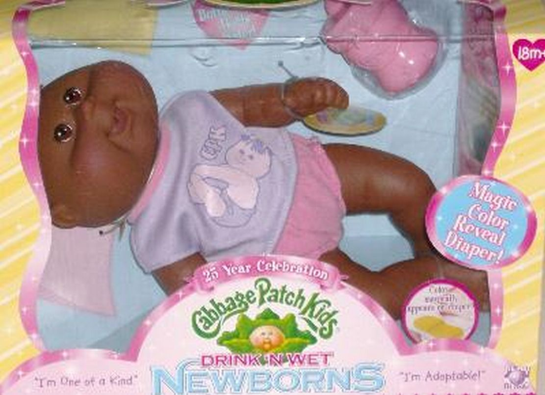 Cabbage Patch Kids Magic Drink & Wet Newborn, Brunette African American Girl by