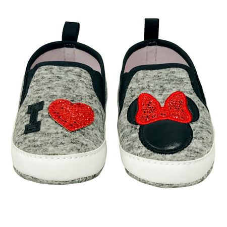 Disney Minnie Mouse Red and Black Infant Prewalker Soft Sole Slip-on Shoes - Size 6-9 Months Disney Mickey Mouse Shoe
