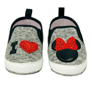 Disney Minnie Mouse Red and Black Infant Prewalker Soft Sole Slip-on Shoes - Size 6-9 Months