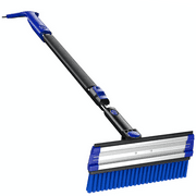 "Snow Brush Ice Scraper with Foam Grip, 39"" to 49"" Extendable Snow Removable Broom with Squeegee 3-in-1 Telescopic Curved Snow Shovel Detachable Windshield Window Snow Remover (Blue)"