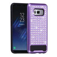 ASMYNA Diamante FullStar Hybrid Hard PC/Silicone Case Cover For Samsung Galaxy S8+ S8 Plus - Purple/Black
