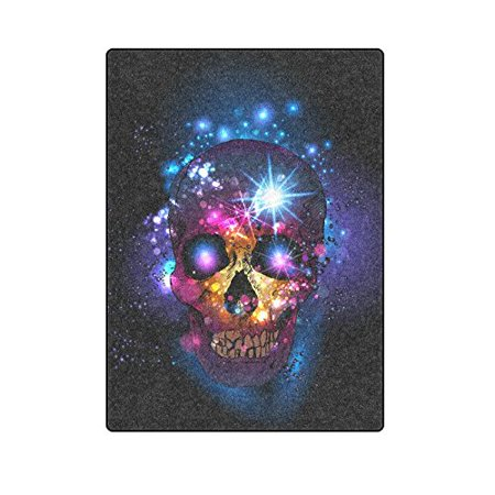 CADecor Cool Colorful Skull Throw Blanket Bed Sofa Blanket 58x80 inches - Colorful Skull