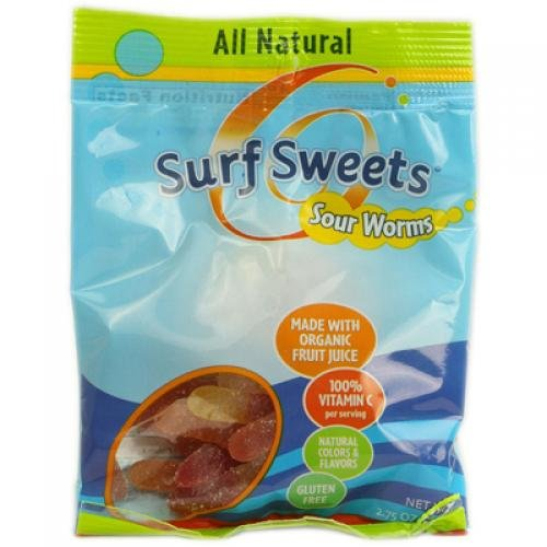 Surf Sweets Sour Worms, 2.75 Oz (Pack of 12)
