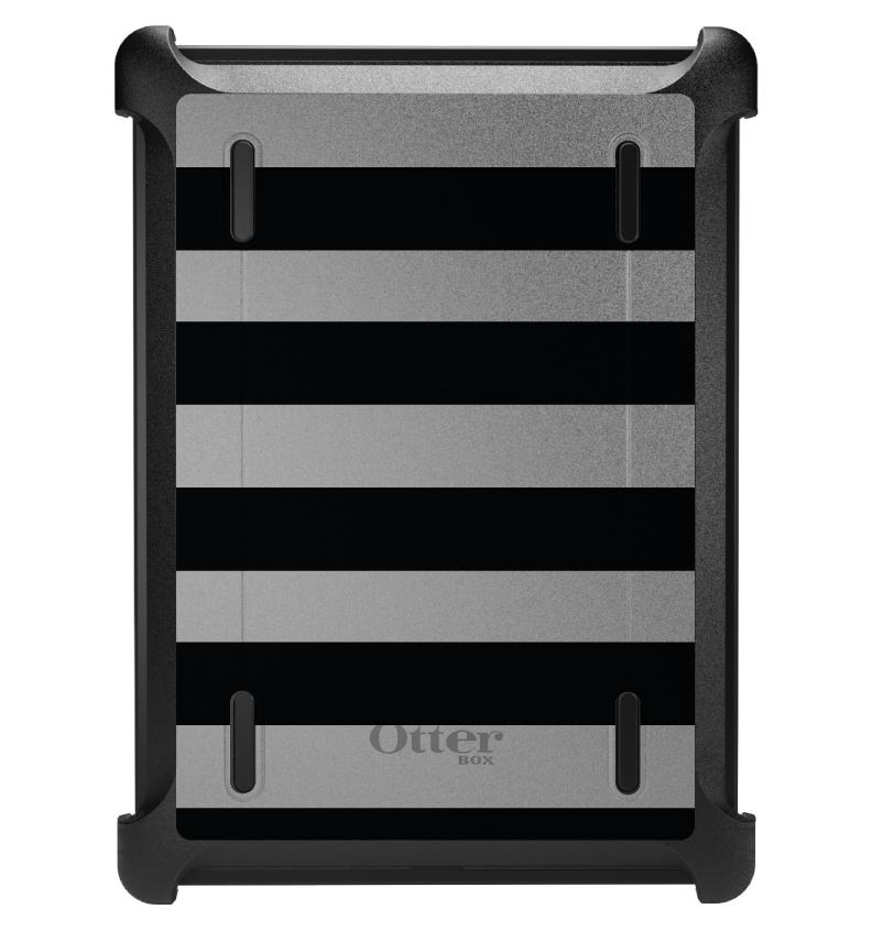 CUSTOM Black OtterBox Defender Series Case for Apple iPad Air 1 (2013 Model) - Black & Grey Bold Stripes