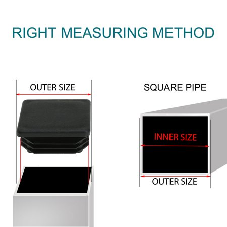 """Square Tube Insert Furniture Floor Protector for 1.38"""" to 1.46"""" Inner Size 24pcs - image 5 of 7"""