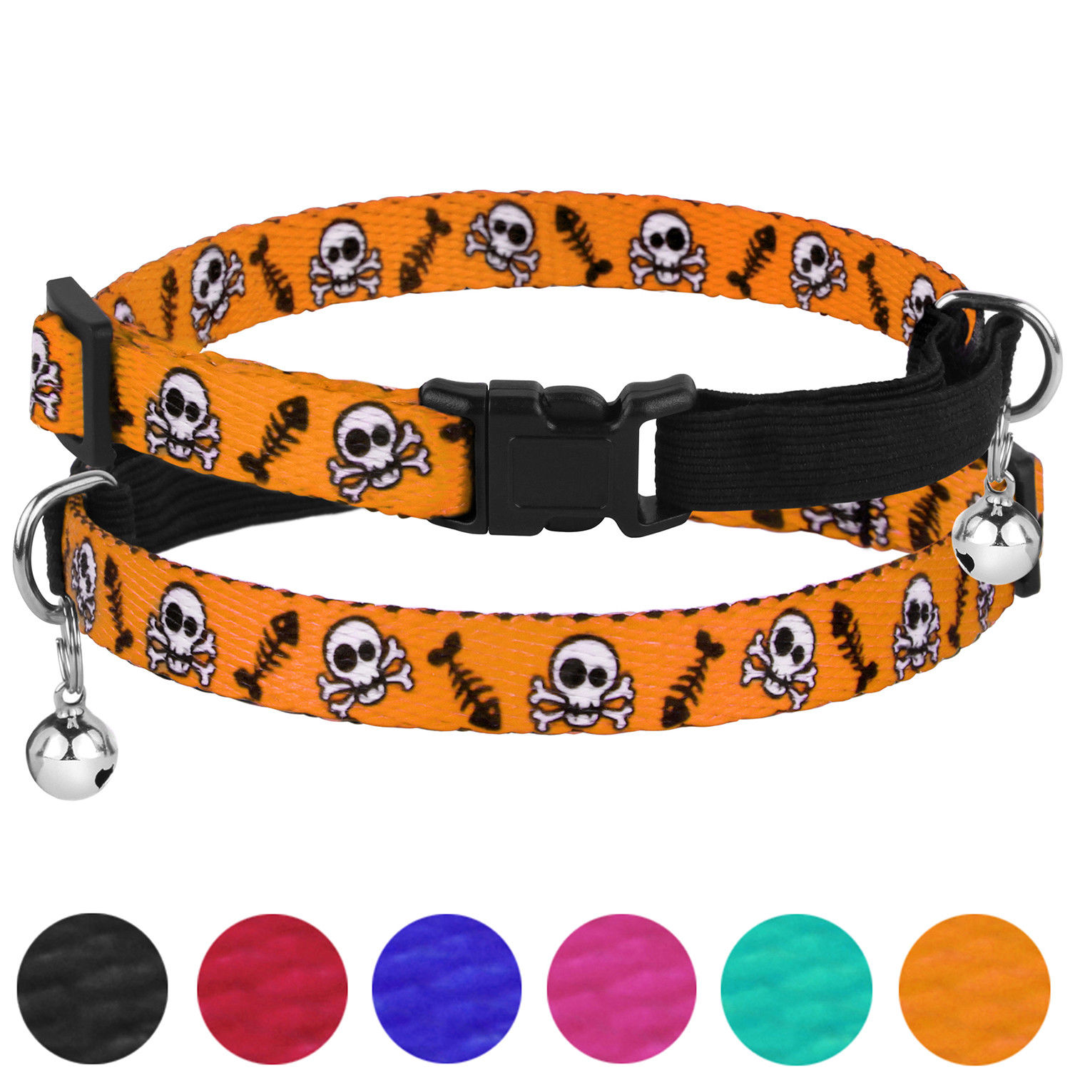 Breakaway Cat Collar Skull Print Safety Collars for Cats Kitten with Bell Elastic Strap Adjustable Size 7-11 Inch, Green