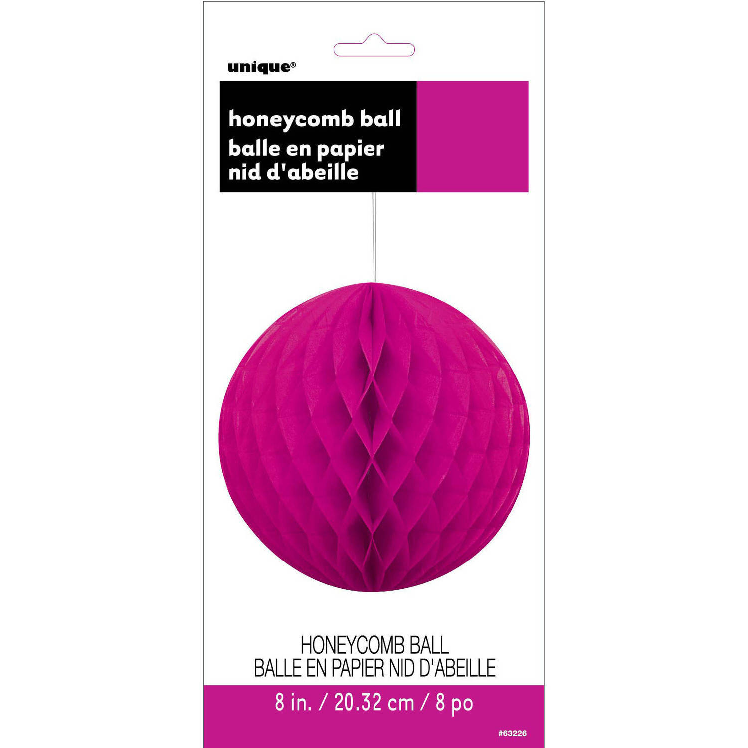 Tissue Paper Honeycomb Ball, 8 in, Neon Pink, 1ct