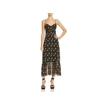 Love Charles Womens Massa Floral Print Tie-Front Midi Dress Black S