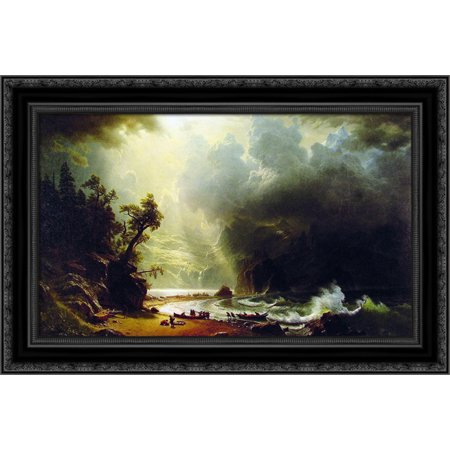 - Puget Sound on the Pacific Coast 24x18 Black Ornate Wood Framed Canvas Art by Bierstadt, Albert