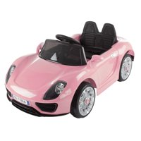 Ride On Sports Car – Motorized Electric Rechargeable Battery Powered Toy with Remote Control, MP3 and USB, Lights and Sound by Lil' Rider (Pink)