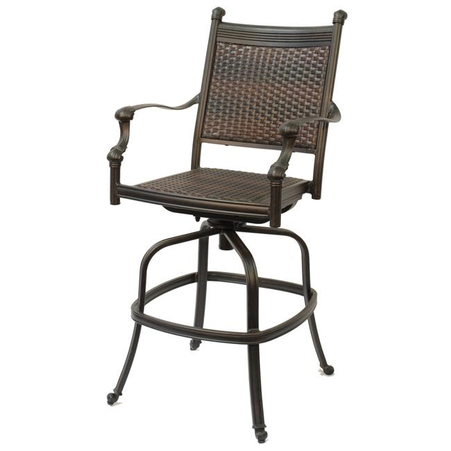 Comfort Care CC05A Cast Aluminum Woven Outdoor Barstool - 50.4 x 25.6 x 26.6 in. - Set of 2
