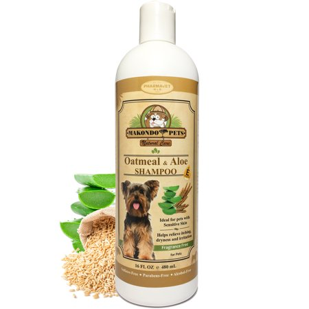 Oatmeal Dog Shampoo with Aloe Vera and Vitamin E - Hypoallergenic Dog Shampoo for Pets with Dry, Sensitive or Itchy Skin - All Natural Fragrance Free, 16 Ounces of the Best Dog Shampoo for Dry