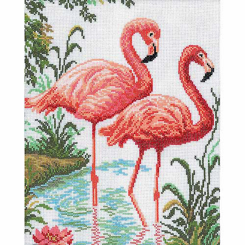 "RTO Flamingos Counted Cross-Stitch Kit, 10-1/4"" x 12-1/4"", 14 Count"