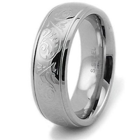 Floral Designed Wedding Band - Stainless Steel Embossed Filigree Floral Wedding Band Ring