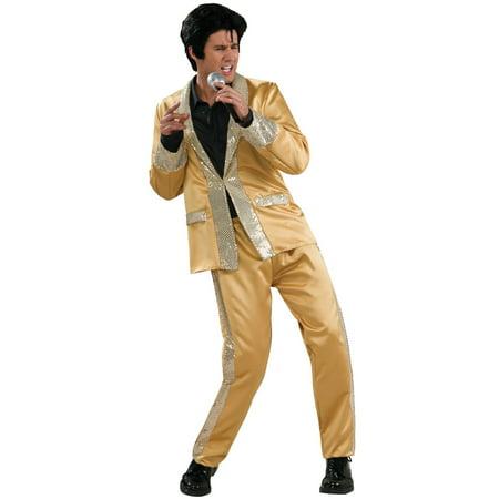 Adult Deluxe Gold Satin Elvis Halloween Costume - Good Adult Costumes