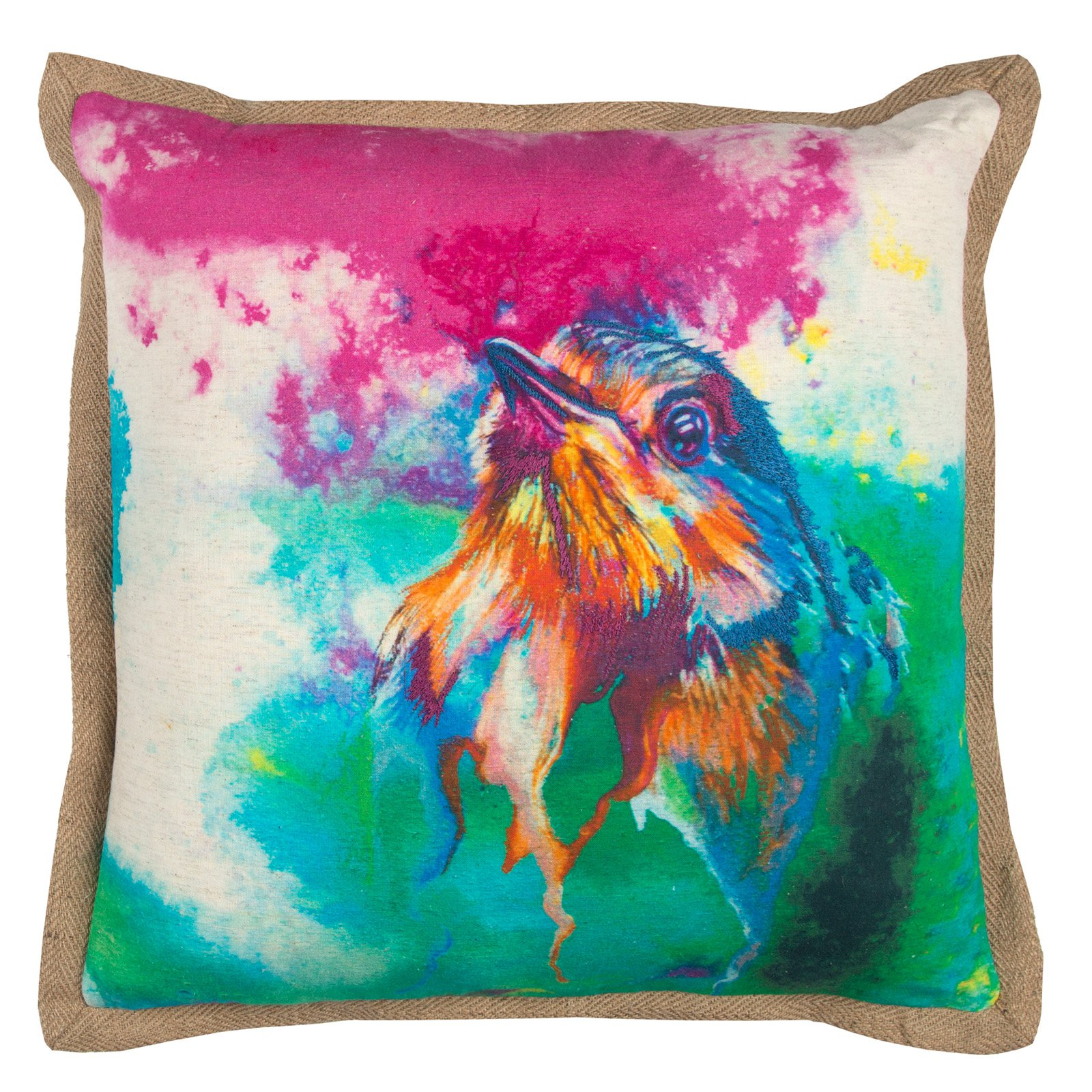 "Mariah Parris By Rizzy Home Decorative Poly Filled Throw Pillow Birds In Cages 20""X20"" Pink"