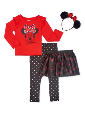 Minnie Mouse Baby Girls & Toddler Girls Roleplay Long Sleeve Top, Leggings, Tutu Skirt & Headband, 4pc Outfit Set (12M-5T)