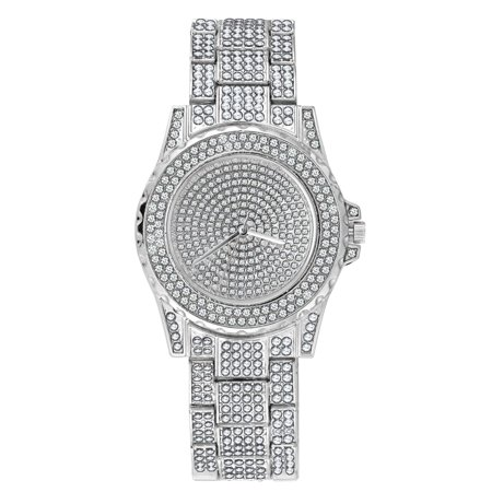 TekDeals Luxury Mens Silver Tone Iced out Simulated Lab Diamond Hip Hop Rapper Watch (Silver Tone Italian Charm Watch)