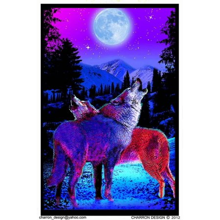 Timberwolves Flocked Blacklight Poster Blacklight Poster - 23x35