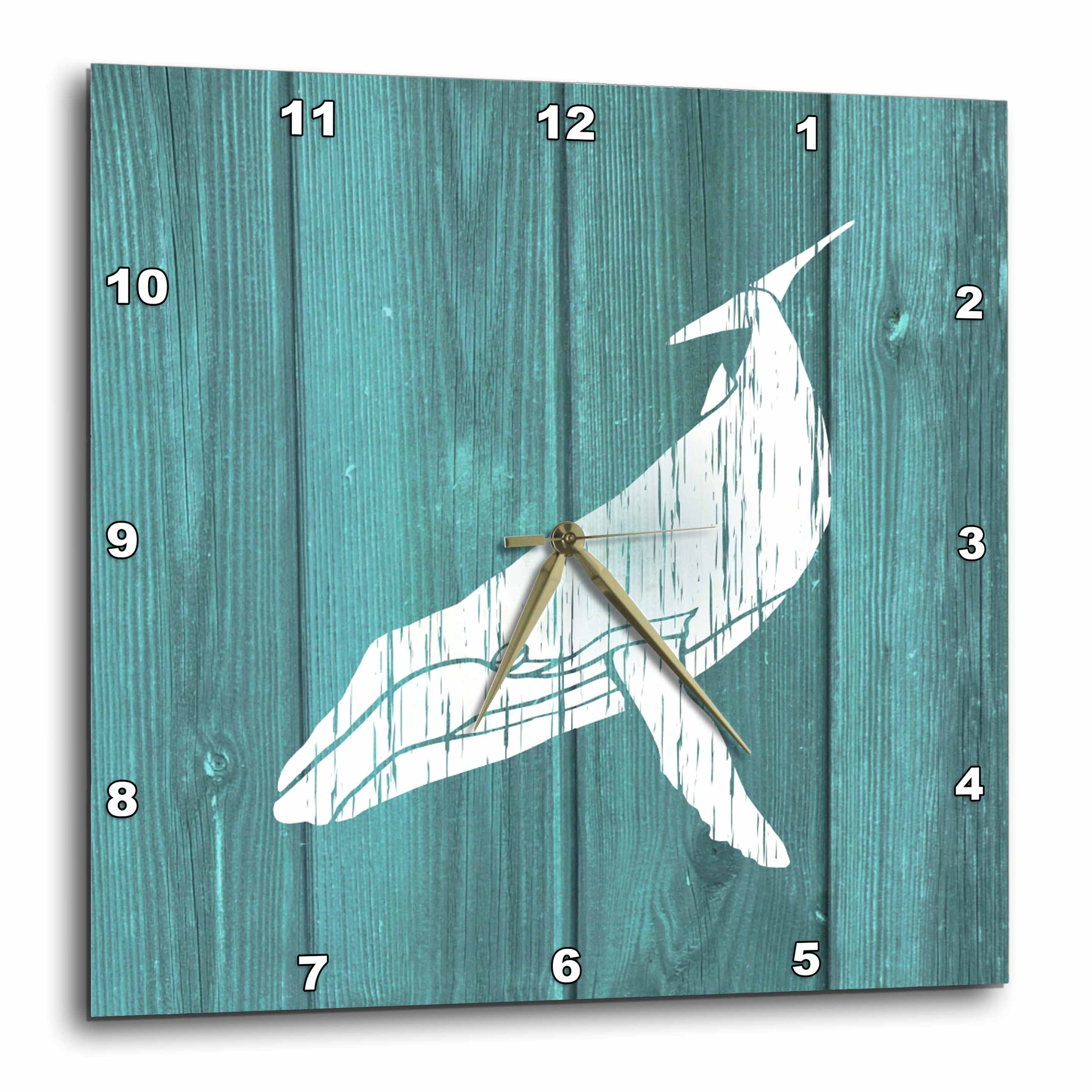 3dRose Humpback Whale Stencil in Faded White Paint over Teal- not real wood, Wall Clock, 10 by 10-inch by 3dRose