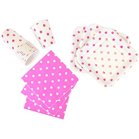 Just Artifacts Disposable Party Tableware 44 Pieces Polka Dot Pattern Dining Set (Square Plates, Cups, Napkins) - Color: Fuchsia - Decorative Tableware for Parties, Baby Showers, and Life - Polka Dot Cups And Plates