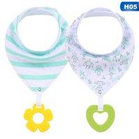 Fancyleo 2Pcs/Set New Infants Cotton Waterproof Bib With Pacifier Teether Baby Triangle Bibs Saliva Towel With Silica Gel Teether Set