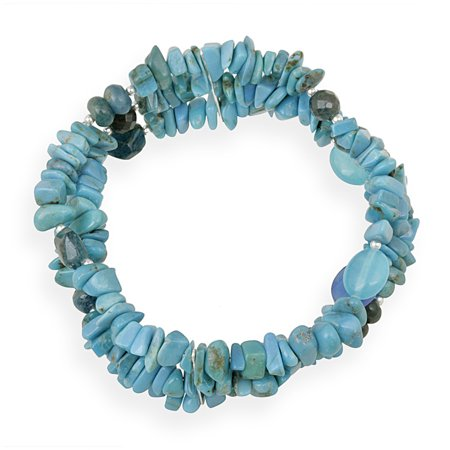 Turquoise, Agate, Apatite Sterling Silver Multi-Strand Fashion Bracelet, 7.5