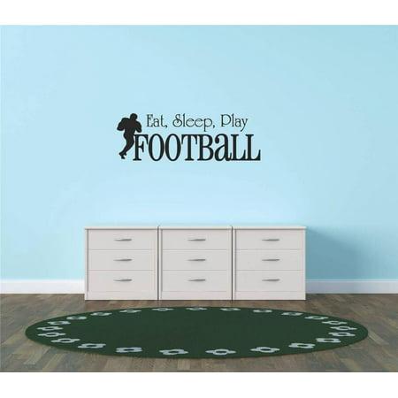 Living Room Art Eat Sleep Play Football Sports Quote Sign Car Bumper Window Banner Kids Children Boy Girl Team 10x20