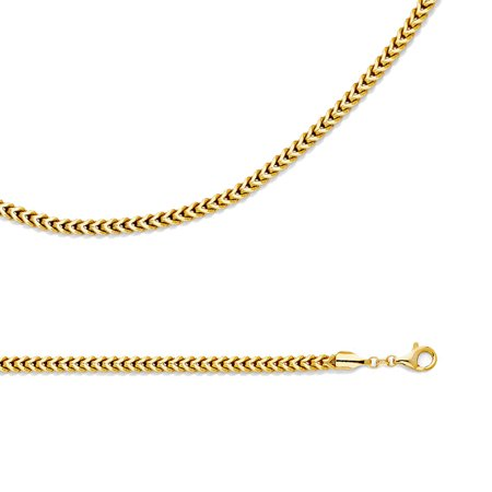 b53bd02c37565 Wheat Necklace Solid 14k Yellow Gold Chain Hollow Link Franco Diamond Cut  Light Big, 4.4 mm - 22,24,26 inch
