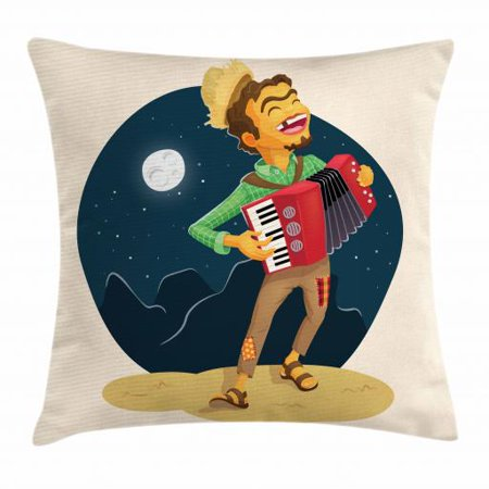 Music Throw Pillow Cushion Cover, Cheerful Poor Peasant with Plaid Shirt and Patched Pants Playing Accordion in Night, Decorative Square Accent Pillow Case, 18 X 18 Inches, Multicolor, by Ambesonne