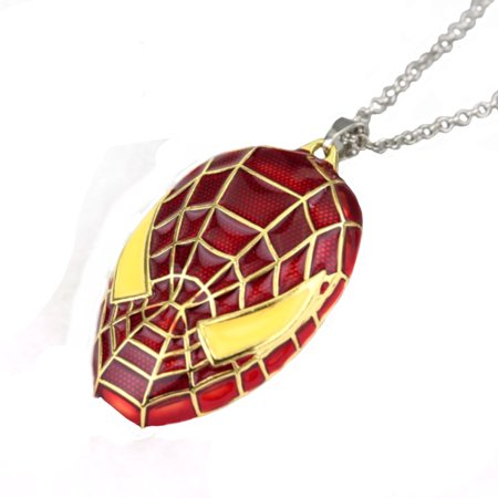 Spider-Man Mask Tarnish Resistant Superhero Spiderman Necklace Pendant Jewelry,