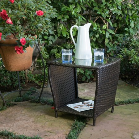 Noble House McGrath Outdoor Wicker Side Table With Glass Top - All weather wicker side table