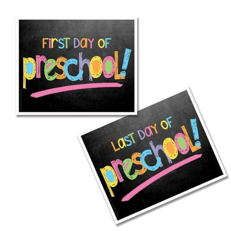 Preschool First & Last Day of School Photo Prop Sign - Pastel Text Chalkboard (Best Bar Chalkboard Signs)