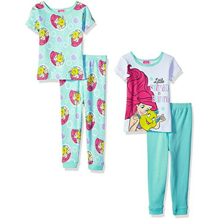 Disney Little Girls' Mermaid 4-Piece Cotton Pajama Set, Under the Sea Blue, 3T