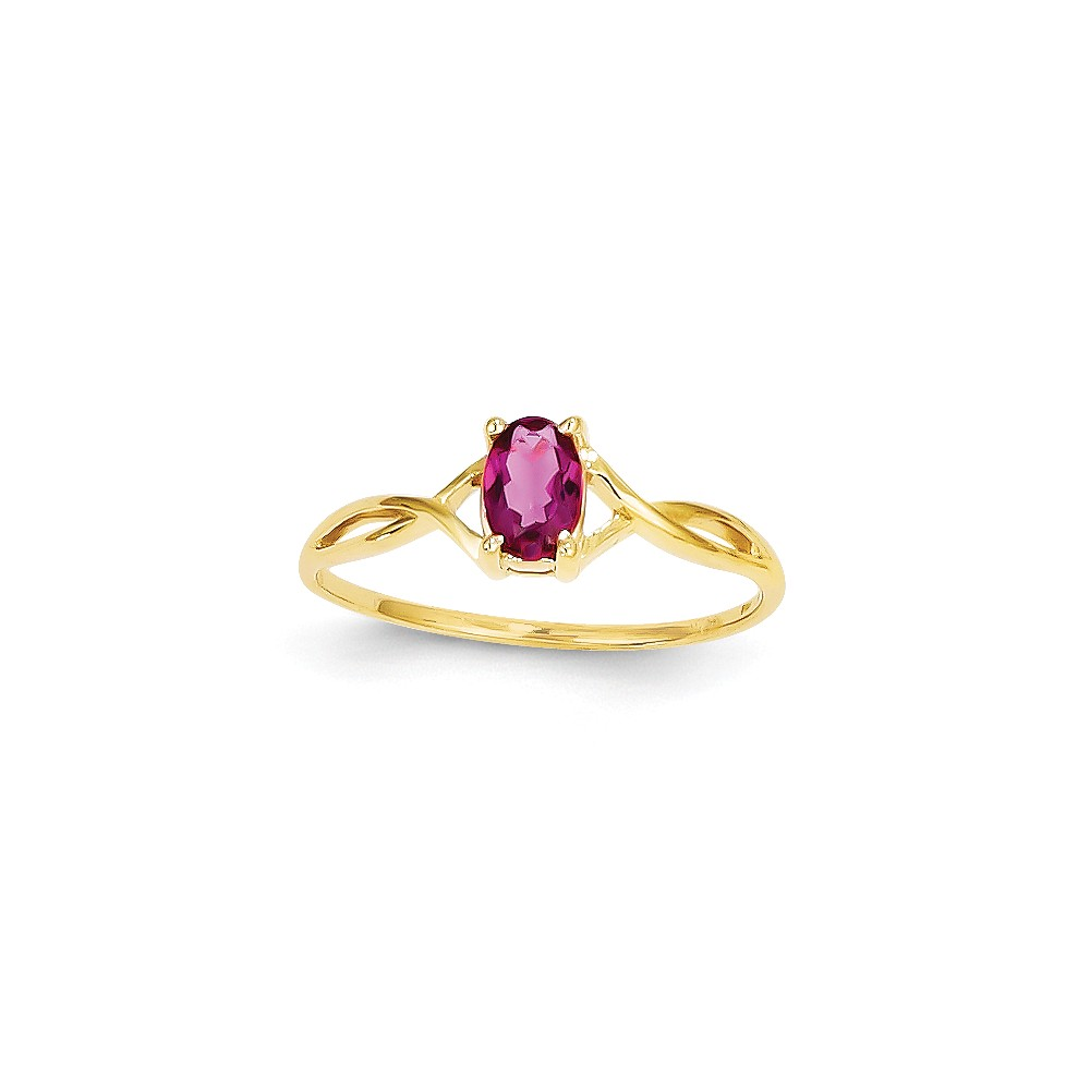14K Yellow Gold Pink Tourmaline Birth Month Ring Size-7 by