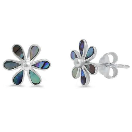 DTLA Abalone Flower Shape .925 Sterling Silver Earring